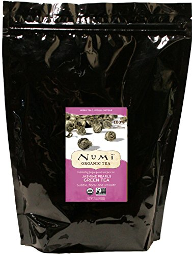 Numi Organic Tea Jasmine Pearls, 16 Ounce Bulk Pouch, Premium Organic Whole Leaf Green Tea, Loose Leaf Flowering Dragon Tea Buds Scented with Real Organic Jasmine (Packaging May - Loose Whole Tea Leaf