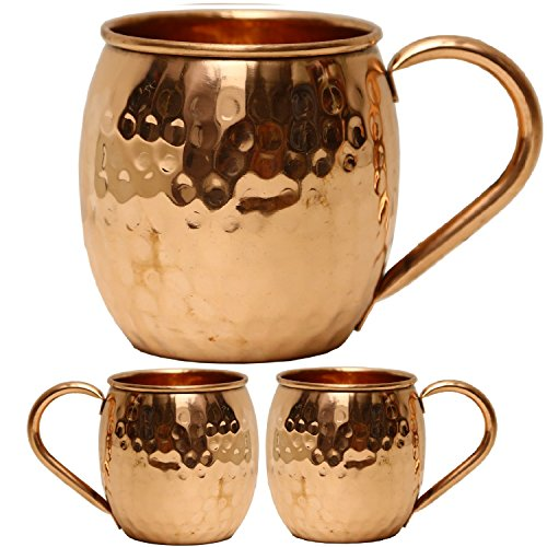 Copper Moscow Mule Mugs Copper Handle, Set of 2