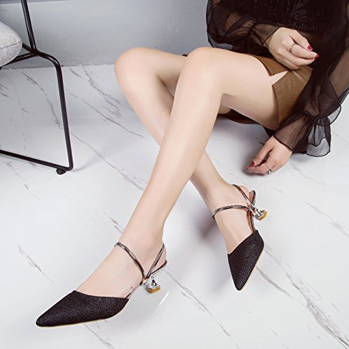Comfort Half Fashion Wild Women'S Wear Sandals Black Summer Casual WHLShoes Slender Baotou Slippers BvtqPq