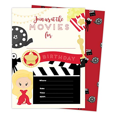 Movies 1 Happy Birthday Invitations Invite Cards (25 Count) With Envelopes and Seal Stickers Vinyl Girls Boys Kids Party (25ct) ()