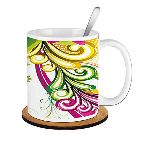 - Colored Shooting Stars Butterflies and Swirls with Floral Space,Hot Pink Yellow Green;Ceramic Cup with Spoon & Round wooden coaster Milk Coffee Tea Mug 11oz gifts for family