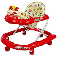 Joyride Cartoon Baby Walker 111 - Music & Rattles with Adjustable Height (Red)