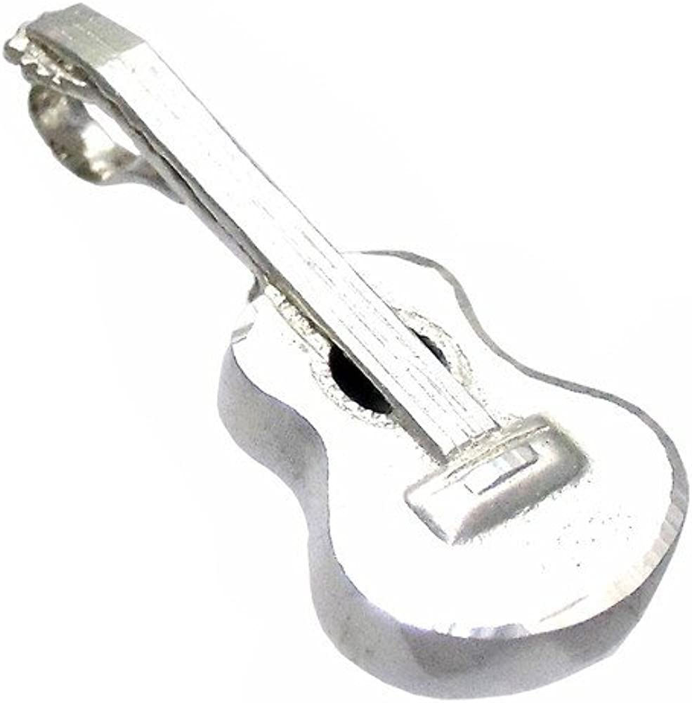 Colgante plata Ley 925m guitarra española 32mm. lisa reasa trasera ...
