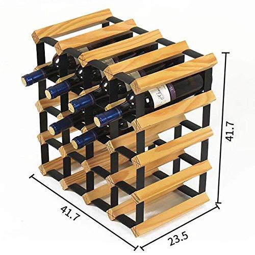 PLLP Iron Wine Rack,Home Wine Rack, Decorative Wine Rack, Restaurant Decoration Wine Rack,Wine Rack Solid Wood Restaurant Wine Cellar Living Room Shelf Steel Bottle Display Stand,Wood -