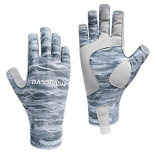 Bassdash ALTIMATE Sun Protection Fingerless Fishing Gloves UPF 50+ Men's Women's UV Gloves for Kayaking Paddling Hiking Cycling Driving Shooting Training (Grey Camo, L)
