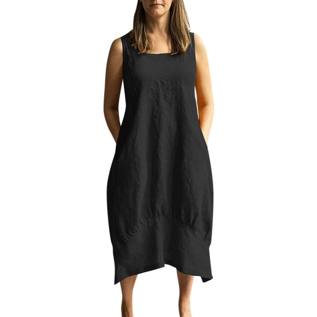 Women Casual Solid O-Neckline Dress Sleeveless Loose Pocket Linen Dress Sundress Beach Dresses Long Dress