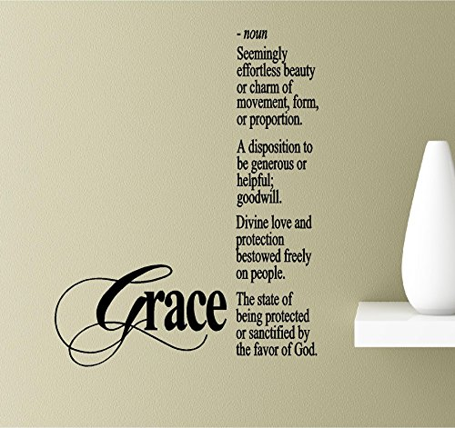Grace-noun seemingly effortless beauty or charm of movement, form, or proportion. A disposition to be generous or helpful; goodwill. Divine love and Vinyl Wall Art Inspirational Quotes Decal Sticker Proportion Air