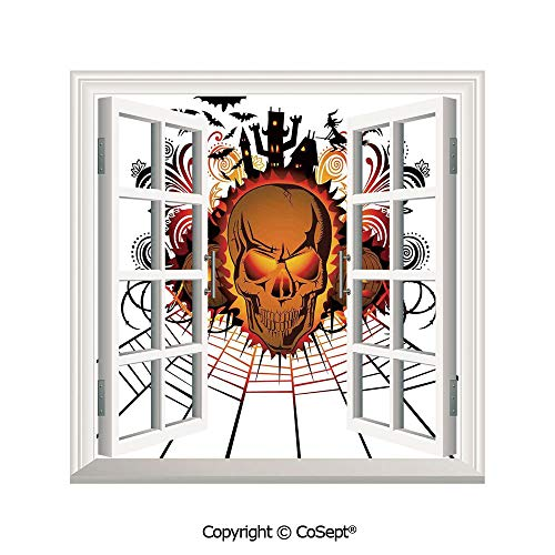 SCOXIXI Open Window Wall Mural,Angry Skull Face on Bonfire Spirits of Other World Concept Bats Spider Web,for Living Room(26.65x20 inch)