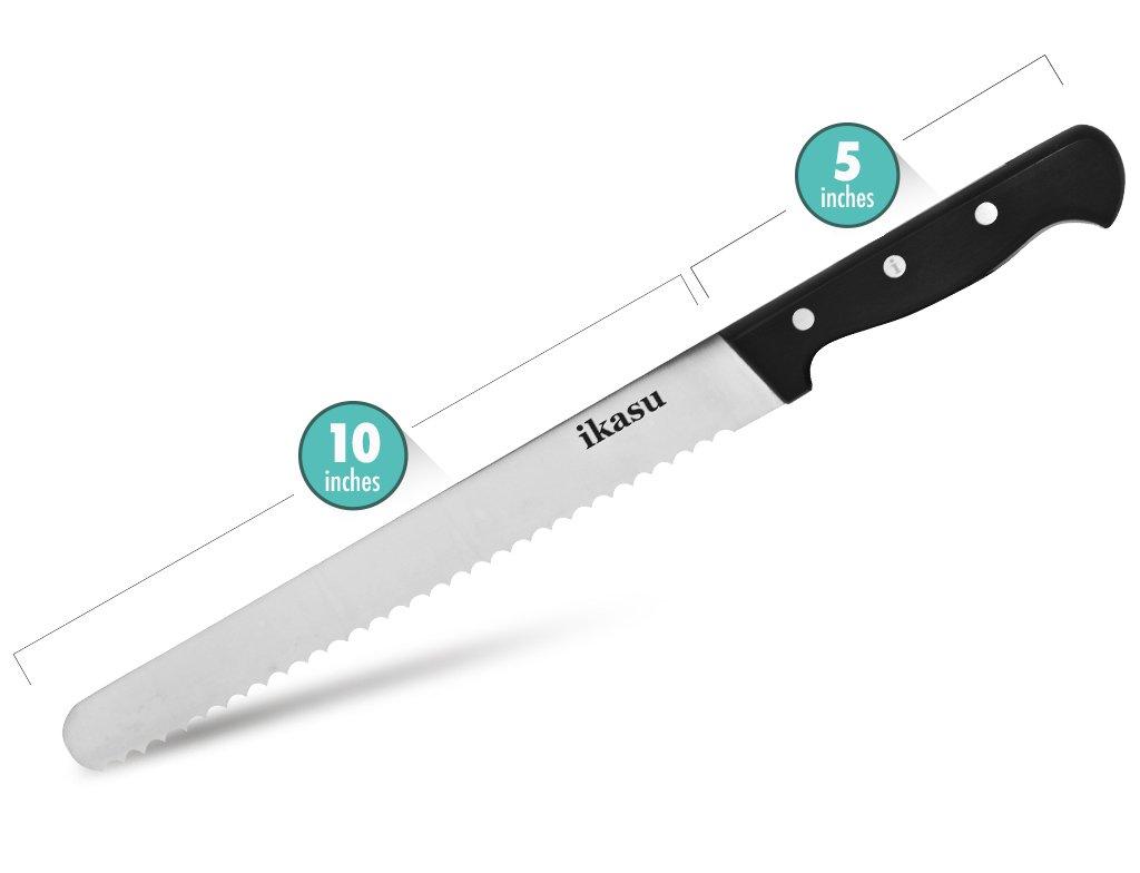 ikasu 10 inch Bread Slicer Knife | Ultra-Sharp German High Carbon Stainless Steel Serrated Edges, Full Tang Blade | Durable Luxury Pakka Wood Handle by ikasu