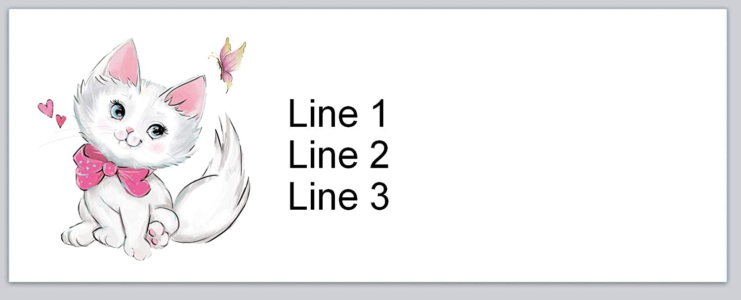 P 693 150 Personalized Address Labels Cute Kitty Cat