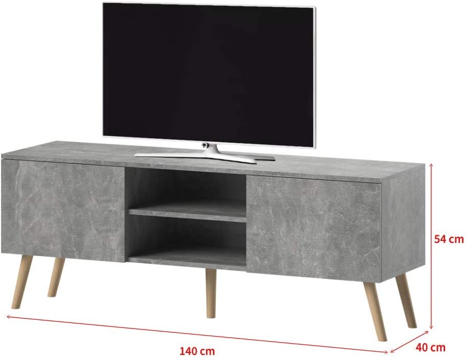 Selsey VEROZIA LIGNNUM - Mueble TV Estilo Nórdico/Mesa para TV/Mueble para Salón Comedor (Gris Cemento): Amazon.es: Electrónica