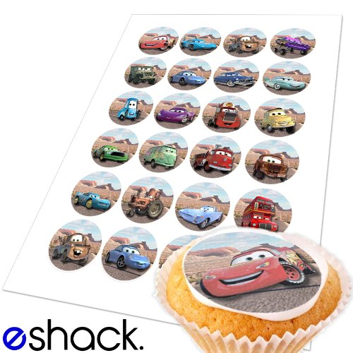 24x Disney Pixar Cars Edible Cake Toppers (Birthday Cupcake Topper by eShack) (Halloween Cupcakes Decorations Uk)