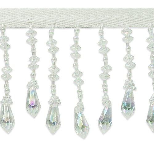 Expo International Diamond Cut Beaded Fringe Trim, 5 yd/3