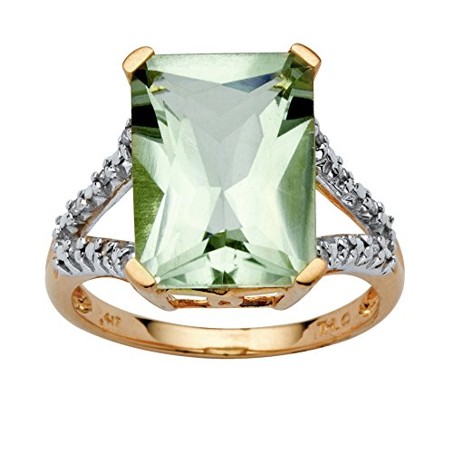 10K Yellow Gold Round Genuine Diamond and Cushion Cut Green Genuine Amethyst Ring (less than 1/10 cttw, I Color, I3 Clar (Green Amethyst And Diamond Ring)