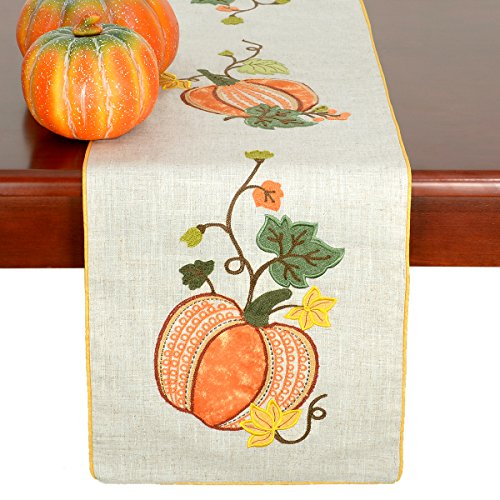 Grelucgo Elegant Thanksgiving Holiday Table Runners, Fall Harvest Decorations, Embroidered Pumpkins, Rectangular 14×72 Inch