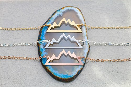 Mountain Necklace - Outline - IBD - 1 Inch 25.4MM - Choose Chain Length - 935 Sterling Silver 14K Rose Gold Filled Charm - Ships in 1 Business Day - Wanderlust Hiker National Parks Jewelry