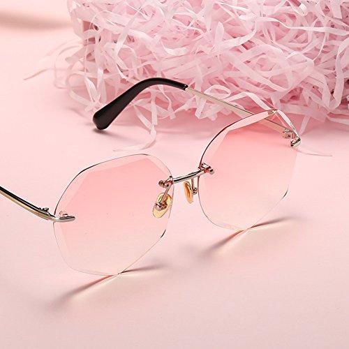 Mujer Marea Color Sin Cara Marco De LIZHIQIANG Pink Gafas Sol Sol Gradient Gradient De Polígono tea Estilo Retro Redonda Harajuku Gafas I8xta6wx