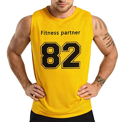 - Men's Tank Top Shirt,82 Print Training Quick-Dry Sports for Gym Fitness Comfortable Bodybuilding Running Jogging (M, Yellow)