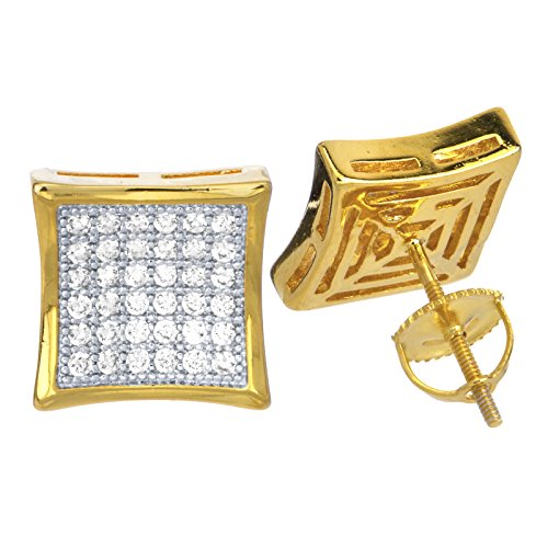 14k Gold Plated Caved Square Lab Diamond Screw Back Stud Earring BE 034 TT ()