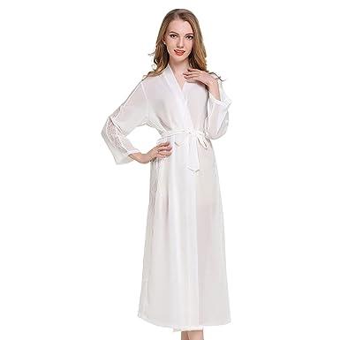 Casa Mujer Vestido Kimono Satén Largo, Kimono Bata de Satén Kimono Del Cordón Robe Albornoz