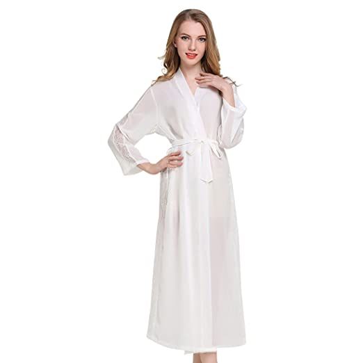 585fb32815f JZLPIN Womens Sexy Chiffon Long Kimono Robes - Lightweight Long Sleeve Bathrobe  Lace Trim Sleepwear Black