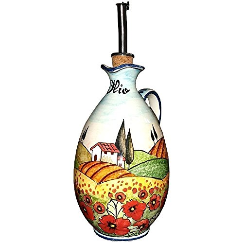 CERAMICHE D'ARTE PARRINI - Italian Ceramic Art Pottery Oil Cruet Deruta Bottle Hand Painted Made in ITALY Tuscan