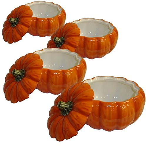 Home Gourmet Collection Pumpkin Soup Bowl with Lid, Set of 4 (Serving Bowls Pumpkin)