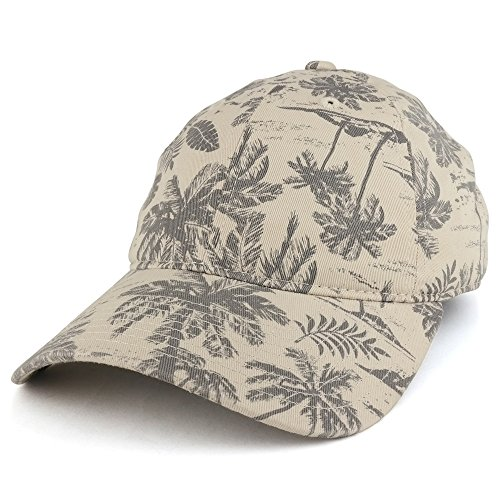 Armycrew Tropical Floral Printed Polo Style Adjustable Unstructured Baseball Cap - Stone