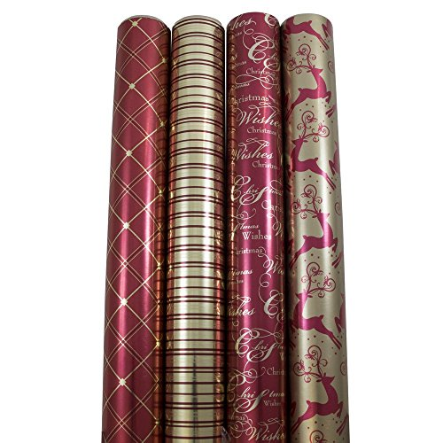JAM Paper® Christmas Design Wrapping Paper - Luxurious Christmas - 45 Sq Ft - 4/pack