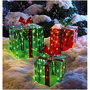 3 lighted gift boxes christmas decoration yard decor 150 lights indoor outdoor buyers choice - Decorative Christmas Boxes With Lights