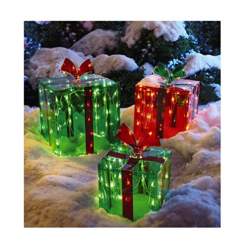 3 Lighted Gift Boxes Christmas Decoration Yard Decor 150 Lights Indoor Outdoor Buyer's Choice by nt