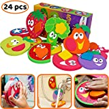 7 month old tub - Bathtub Toys for Toddlers - Foam Bath Puzzles for Kids - Fun Baby Educational Toy for Girls & Boys - Fine Motor Skills - Early Learning Tub Stickers Fruits Set (12 Puzzles - 24 Items)