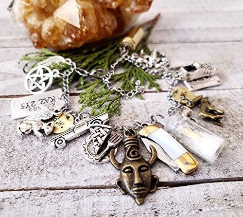 Cosplay jewelry | Supernatural charm bracelet | Fandom | Impala | rock salt vial | moose | squirrel | Dean Winchester | amulet | Wanderlust Hearts Original design© | charm bracelets | mini knife