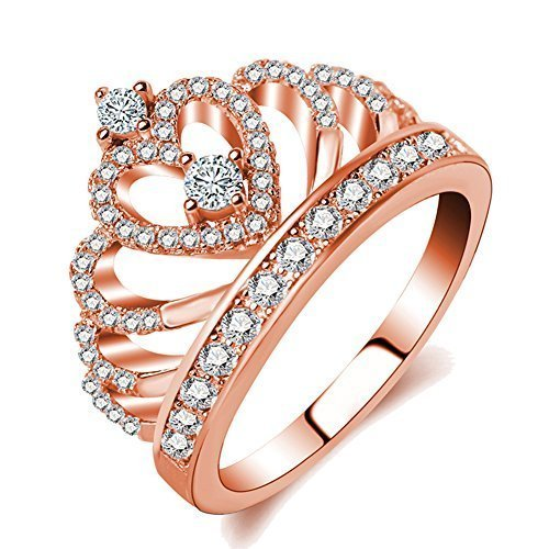 Haoze Rose Gold Princess Crown Tiara Design Cubic Zirconia Diamond Ring Wedding Engagement Ring for Women Girls (7)