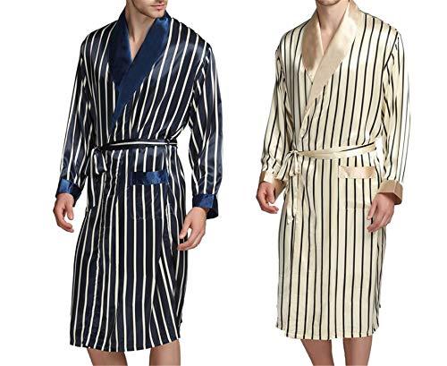 M Xl Seta Beige Camicia Robe Blu S Da Capispalla Robes 3xl Notte L 2xl Righe Uomo Pigiama Di Plus A 8XnO0wPNk