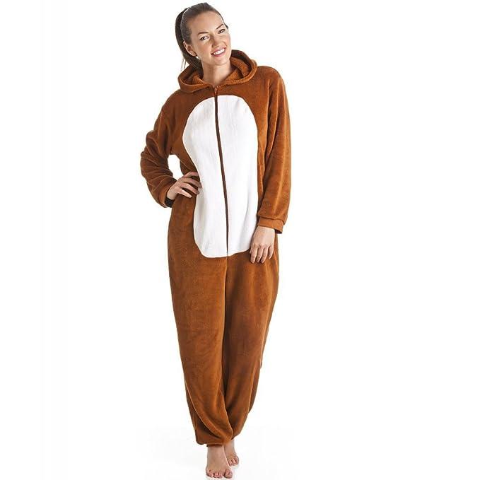 Pijama de una pieza supersuave - Con capucha - Forma de zorro - Marrón y blanco