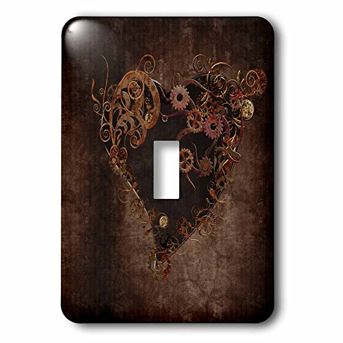 3dRose lsp_172232_1 Decorated Brown Steam Punk Heart Light Switch - Decorated Heart