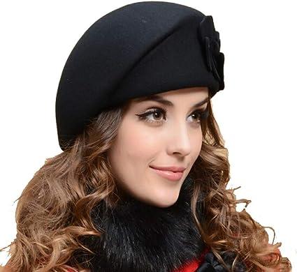 Women/'s Winter Beret Hat Ring Wool Painter Hats Autumn Ski Cap Newsboy French