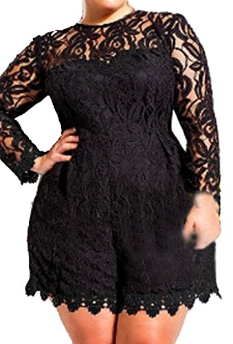 ZKESS Women's Plus Size Long Sleeve Lace Club Party Romper XX-Large Size Black
