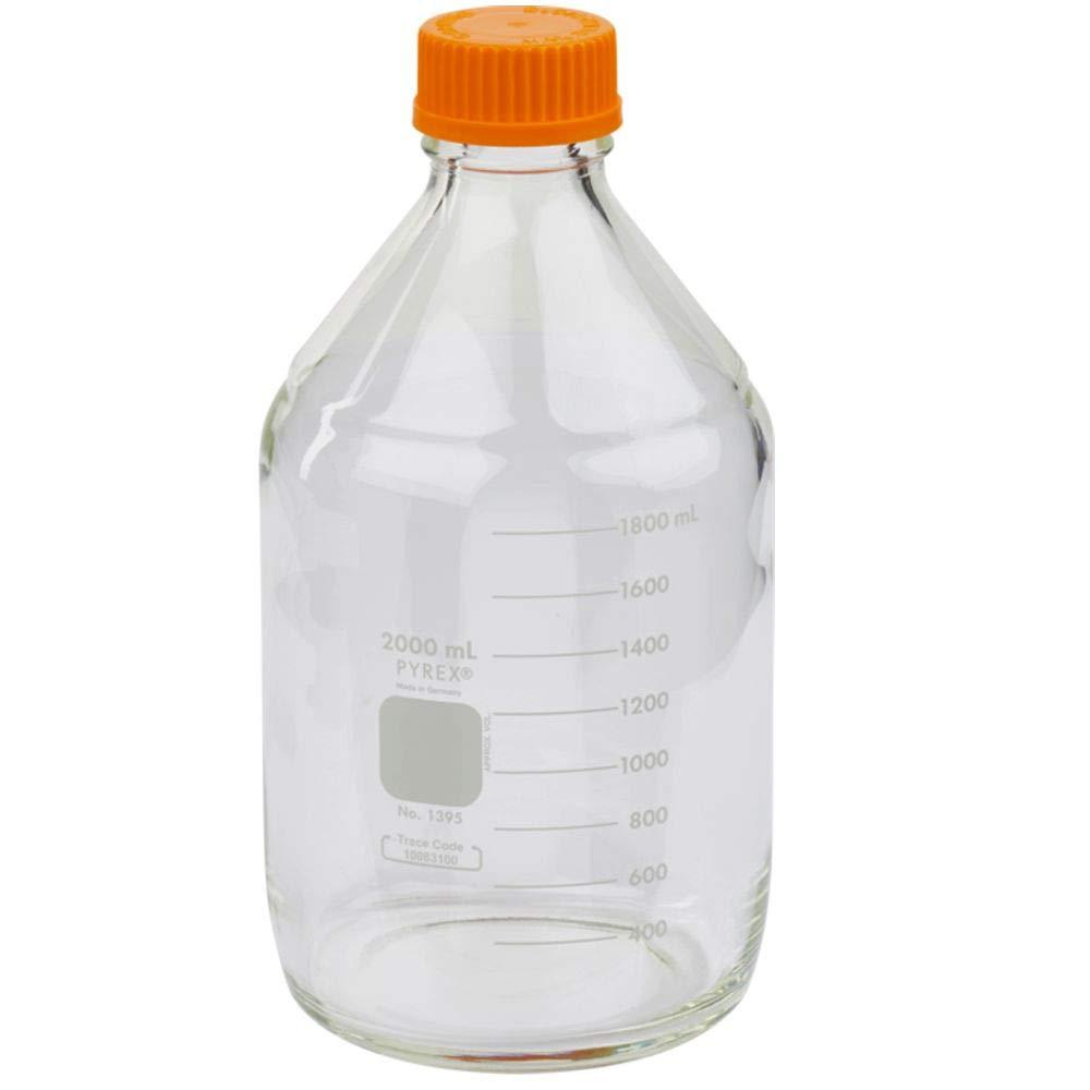 Pyrex 1395-2LCNEa 2L Round Media Storage Bottles, with GL45 Screw Cap, E, Glass