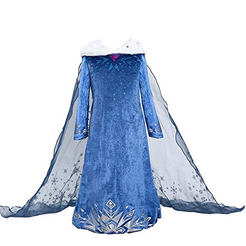 Lovely Mermaid Snow Princess Elsa Dress Crown Tiara Wand Adventure Costume Fancy Long Sleeve Girls Kids (150cm fit for 10-11years Kids)]()