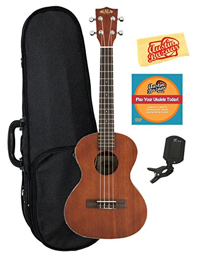 Kala KA-TE Mahogany Tenor Acoustic-Electric Ukulele Bundle with Hard Case, Clip-On Tuner, Austin Bazaar Instructional DVD, and Polishing Cloth by Kala
