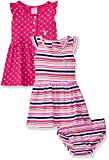 U.S. Polo Assn. Baby Girls Multi Pack Dress, Dress Pack Stripes Dots Ruffle Sleeves Fuchsia, 18M
