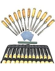 Aisamco Kits de herramientas para tallado de madera - 18 piezas Herramientas profesionales de carpintería afiladas con estuche de transporte Ideal para principiantes