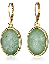 1928 Jewelry Semi-Precious Collection 14k Gold Dipped Oval Drop Earrings