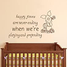 "Wall Decal Decor Winnie the Pooh Quote - Happy times are never ending - Piglet Wall Art Sticker Baby Nursery Kids Room Vinyl Lettering Sticker(Black, 13""h x22""w)"