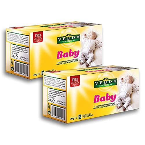 Vedda, Te para Bebe, Te de Hinojo para Bebes, Infusiones para Ninos, Te para Estimular la Leche Materna, Te del Estomago del Bebe, (Paquete de 2, total 40 bolsitas de te)