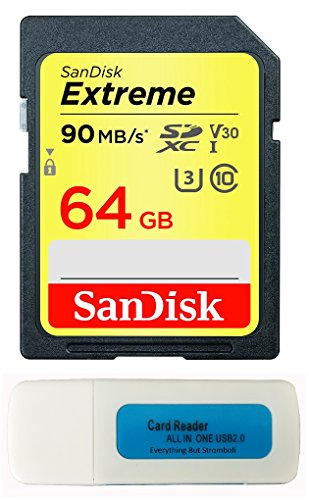 SanDisk 64GB Extreme Memory Card works with Canon EOS Rebel SL2, T6, T6i, T5i EF-S, EOS 80D, Powershot Camera SDXC 4K V30 UHS-I (SDSDXVE-064G-GNCIN) with Everything But Stromboli Combo Reader