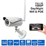 Titathink TT730PW-PRO High Definition 1080p Wifi Wireless & Wire Poe Combo Outdoor Day/night Weatherproof Security Network Ip Camera with Ir Night Vision, Audio, Micro Sd Card Recording.