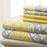Spirit Linen Hotel 5Th Ave Prestige Home Collection 6 Piece Sheet Set, King, Grey Yellow Medallion